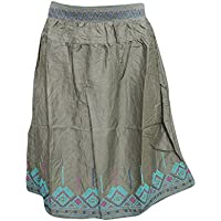 Short Skirts Gypsy Hippie Rayon Embroidered Mid Length Skirt for Women M