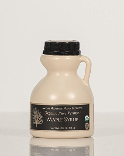 Pint Maple Syrup Jug - Mansfield Maple Certified Organic Pure Vermont Maple Syrup in Plastic Jug Golden Delicate (Vermont Fancy), Half Pint