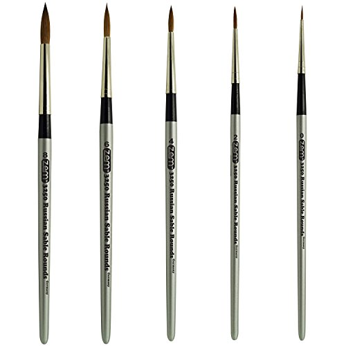 Red Sable Brush (Russian Pure Sable Rounds Brush Set Sizes 0,2,4,6,8 Made in Germany)