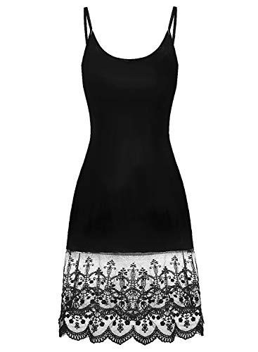 Art 90s Women Adjustable Spaghetti Strap Sleeveless Lace Trim Cami Slip Dress Extender Black XL