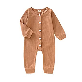 Xifamniy Newborn Unisex Kids Sweater Style Button Down One-Piece Bbodysuit Babies Casual Outfit Brown