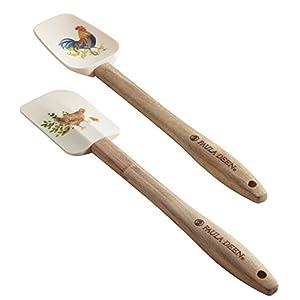 Tools Silicone Spatula/Spoonula Set, 2-Piece, Garden Rooster