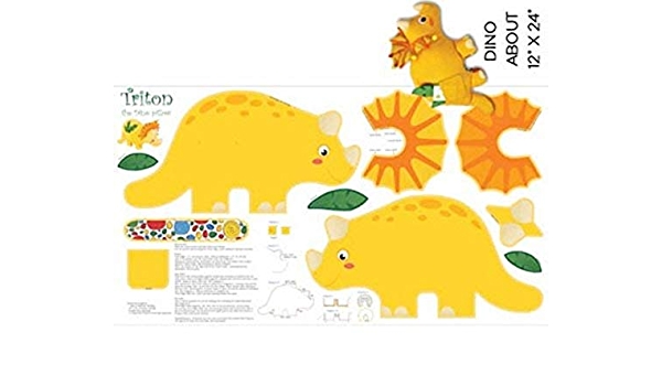 23 X 44 Triton The Dino Baby Dinosaur Shaped Pillow Fabric Panel Great for Sewing, Craft Projects, Pillows, Appliques and More