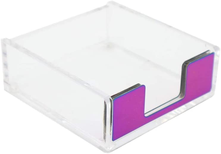 MEI YI TIAN Clear Acrylic Rainbow Self-Stick Note Pad Holders Colorful Memo Note Cube Holder Dispenser 3.5x3.3 Inch for Office Home Schools Desk Supplies (Rainbow)