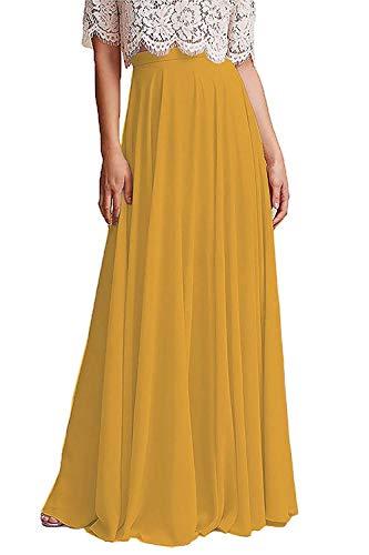 Honey Qiao Chiffon Bridesmaid Dresses High Waist Long Woman Maxi Skirt Yellowish