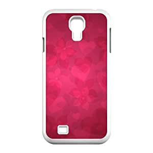 Red Pattern & Red Texture Series, Samsung Galaxy S4 Case, Red Floral Pattern Case for Samsung Galaxy S4 [White]