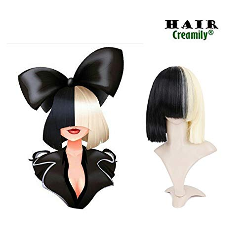 Creamily Half Blonde and Half Natural Black 2-tone Dyed Hair Cosplay Wigs (with 1 pcs mesh net wig cap) (Straight)