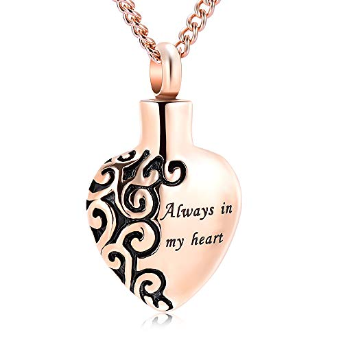 """""""Always In My Heart""""Ash Keepsake Necklace Urn Pendant Cremation Jewelry from Yinplsmemory"""