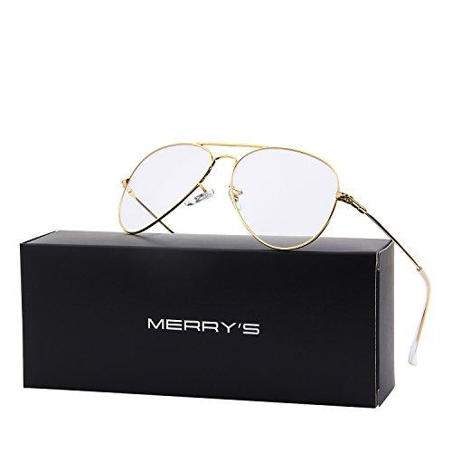 MERRY'S Fashion Women Titanium Glasses Frames Men Brand Gold Shield Eyeglasses S8205 (Gold, - Titanium Eyeglasses Brands