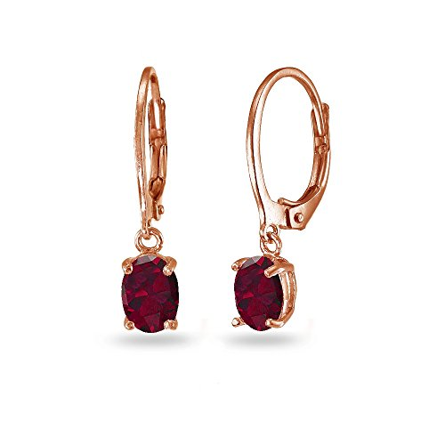LOVVE Rose Gold Flashed Sterling Silver Created Ruby 7x5mm Oval Dangle Leverback Earrings Rose Gold Ruby Earrings