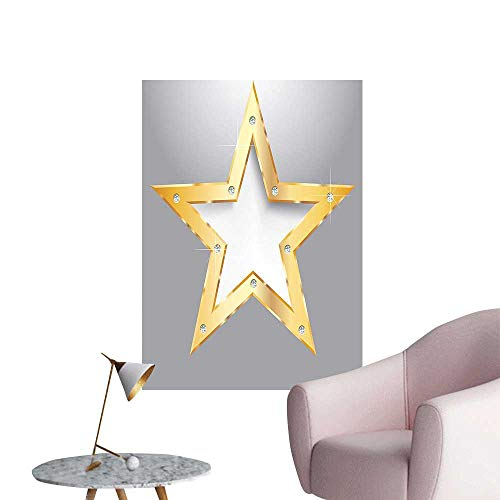 Wall Painting Big Star on Metal Plate with Diamonds Hanging in The Air Love Luxury High-Definition Design,32