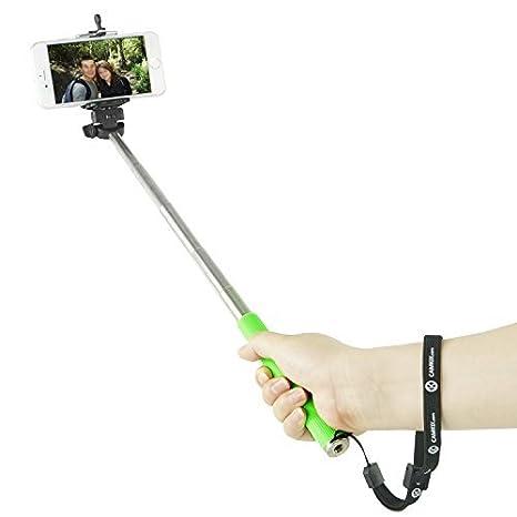 CamKix - Selfie Stick / Palo para Selfies extensible con soporte universal para smartphone (iPhone, Samsung y otros hasta 3,5 pulgadas). Con mando bluetooth. Color verde O4IAM-SSR-GRE