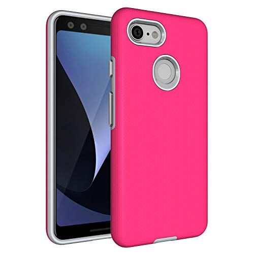 Google Pixel 3 Case,Pixel 3 [Non-slip] [Drop Protection] [Shock Proof] [Dual Lawyer] Hybrid Defender Armor Full Body Protective Rugged Holster Case Cover for Google Pixel 3 2018 Hot Pink ()