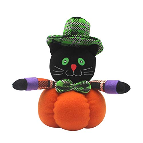 Halloween Doll Toys, Ikevan Halloween Witch Pumpkin Cat Decoration Home Ornament Plush Stuffed Doll Toys (C)