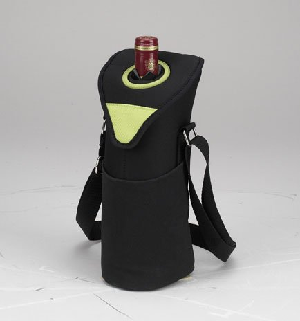 Picnic at Ascot Insulated Wine/Water Bottle Tote with Shoulder Strap -  Apple (Apple Picnic Time)