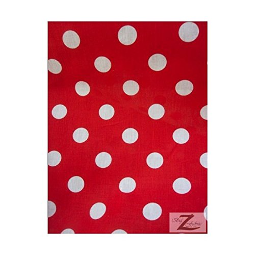 Polka Fabric Cotton Dot - 60-Inch Wide Polka Dot Poly Cotton Fabric By The Yard, White Dot On Red Fabric