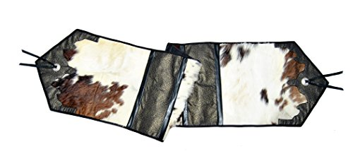 Western Ranch Style real Cow Hair On Hide Table Runner 16 x 72 inches - Leather Table Runner
