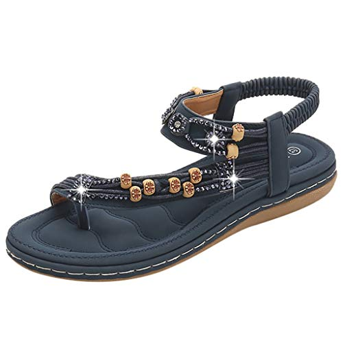 (Kauneus Women's Crystal with Rhinestone Bohemia Flip Flops Summer Beach T-Strap Flat Sandals Navy)