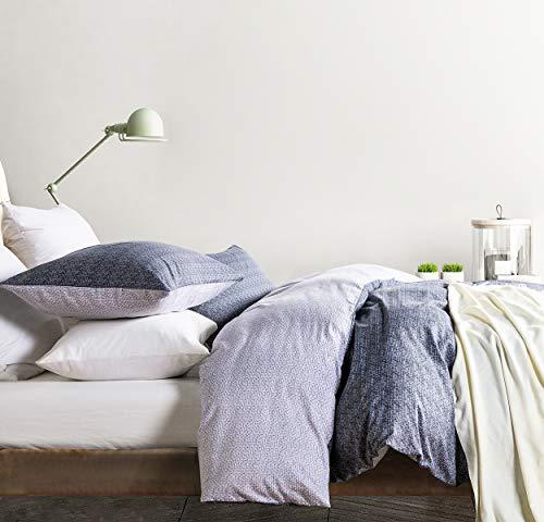 SLEEPBELLA Duvet Cover Set, 600 Thread Count Cotton Floral Pattern Printed Comforter Cover Reversible (Queen, Twilight-Violet)