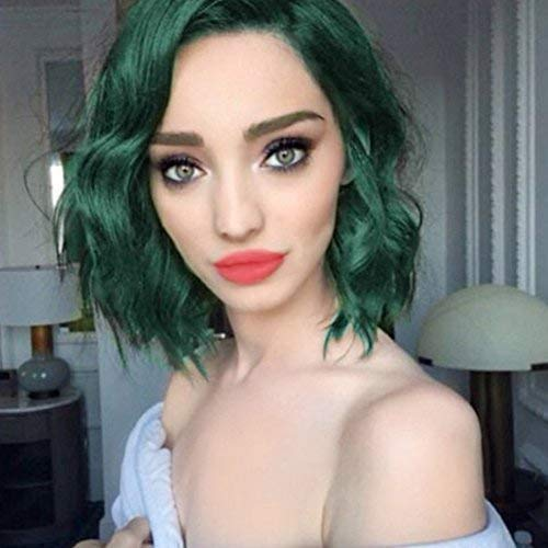 ENTRANCED STYLES Synthetic Wig for Women Dark Green Color Bob Curly Wig with Side Parting Heat Resistant Fiber Womens Wig for Cosplay,Party&Daily Use Costume -