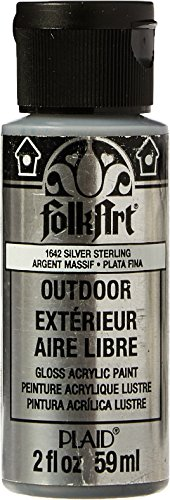 (FolkArt Outdoor Acrylic Paint in Assorted Colors (2 Ounce), 1642 Metallic Silver)
