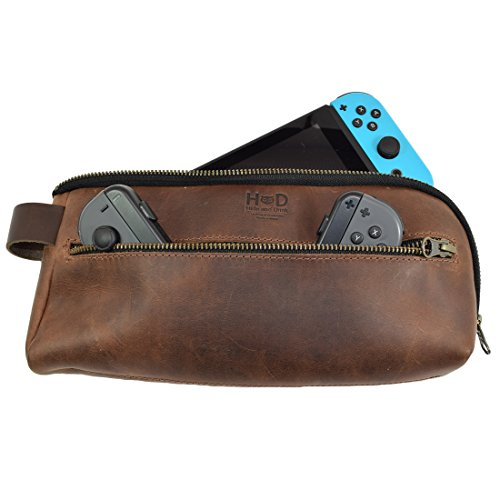 (Leather Switch Carrying Case/Urban Travel Pouch/Simple Soft Storage Bag Handmade by Hide & Drink :: Bourbon Brown)