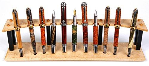 Birds Eye Maple and Ebony Upright Stand - 11 Pen by Lanier Pens