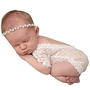 Infant Props Soft Newborn Baby Photography Romper Fashion Lace Playsuit White and Black Clothes
