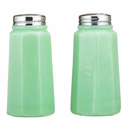 Tall Paneled Solid Jade Jadeite Glass Salt & Pepper Shakers Ohio Made by Mosser Glassware