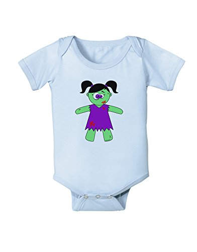 TooLoud Zombie Girl Halloween Baby Romper Bodysuit - Light Blue - 12 Months -