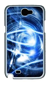 Abstract Blue Art Custom Designer Samsung Galaxy Note 2/Note II / N7100 Case Cover - Polycarbonate - White