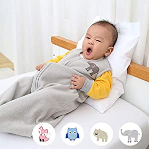 TILLYOU Ultra Soft Sleeveless Sleep Bag Medium M, TOG 1 Baby Wearable Blanket with Zipper, Fits Infants Newborns Ages 6-12 Months, 100% Thermal Warm Micro Fleece, Gray Elephant