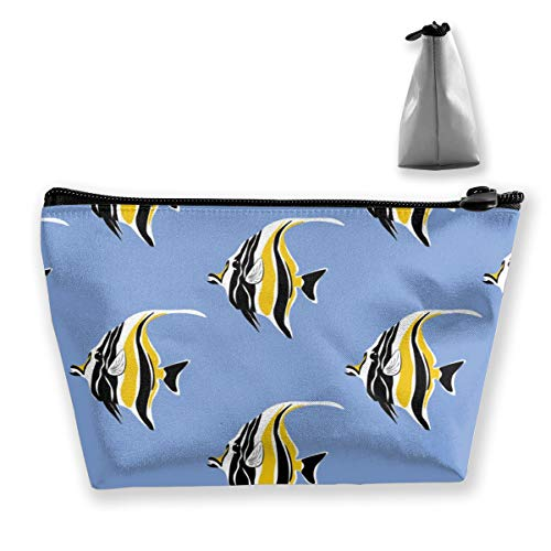 Cosmetic Toiletry Travel Bag Moorish Idol Fish Print Make Up Train Case Storage Bags Multifunction Portable Organizer Pen Pencil Power Lines Pouch ()