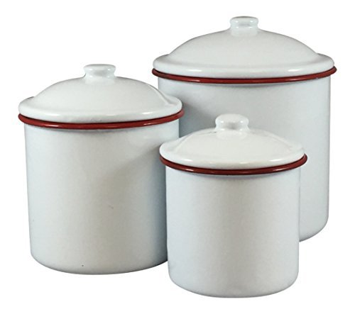 Enamelware Three Piece Canister Set White with Red (Enamelware Canister)