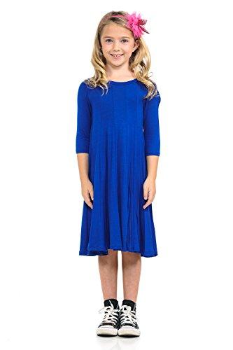 oney Vanilla Girls' A-Line Trapeze Dress Small 5-6 Years Royal Blue ()