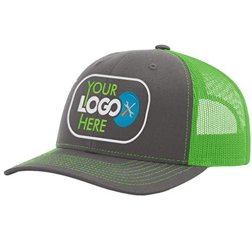 Custom Richardson 112 Hat with Your Logo Embroidered Trucker Mesh Snapback Cap (Adjustable Snapback Split Colorway, Charcoal/Neon Green)