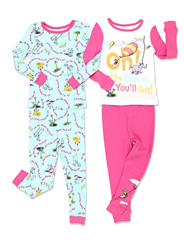 Dr. Seuss Toddler Girls Cotton 4 Piece 2fer Pajamas Set (2T, Pink/Blue) for $<!--$15.99-->