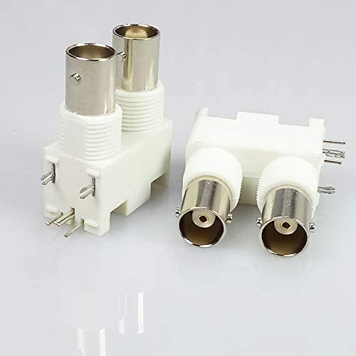 100pcs//lot Dual BNC Female Right Angle PCB Mount Plastic White Panel Mount BNC Female Jack Socket Adapter for CCTV Camera