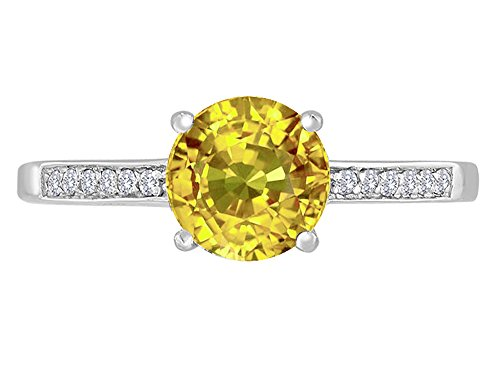 - Star K Round 7mm Genuine Citrine Solitaire Engagement Ring 14 kt White Gold Size 6