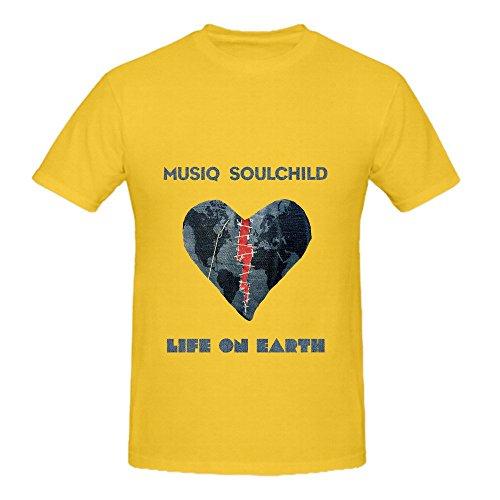 Musiq Soulchild Life On Earth Men Crew Neck Graphic Shirt Yellow (Pepsi Man Ps1)