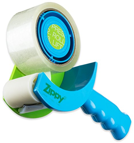 Zippy TSPD-01B8X Easier Revolutionary, Best Tape Gun for Moving, Home and Office, Safe, No Teeth Includes Free Tape, Blue