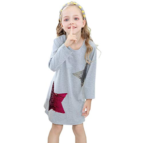 Little Girls Dress Casual Cotton Kids Unicorn Appliques Striped Jersey Dress 2-7 Years (2T, Reversible Sequin Star)