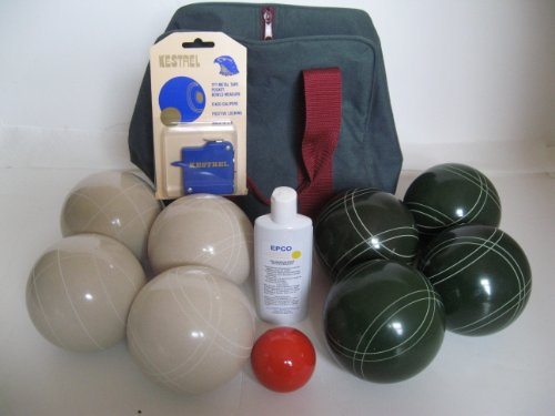 Premium Quality Basic EPCO Bocce package - 110mm White and Green balls, quality nylon bag, me... by Epco