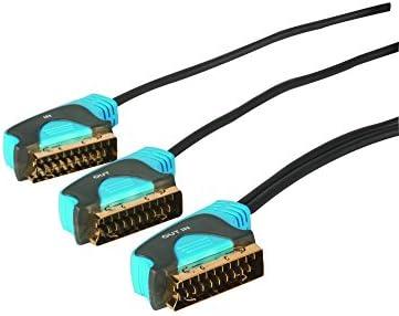Maplin doble Cable de euroconector a 1,5 m dos TV chapado en oro de televisión de alta 21 pin conector: Amazon.es: Electrónica