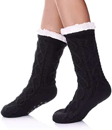 b6a224f07aac0 SDBING Women s Winter Super Soft Warm Cozy Fuzzy Fleece-lined Christmas Gift  With Grippers Slipper