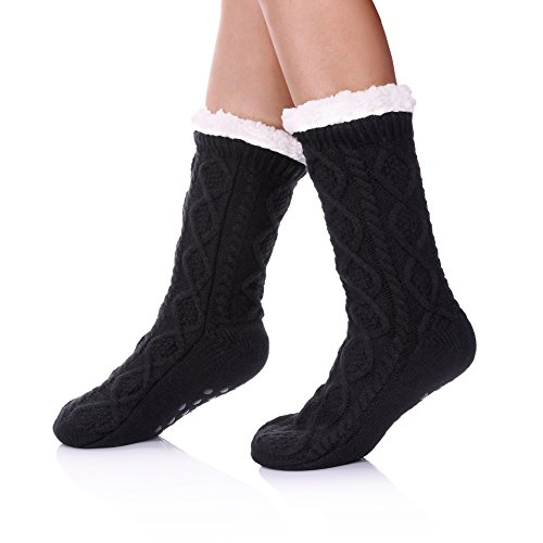 (SDBING Women's Winter Super Soft Warm Cozy Fuzzy Fleece-lined Christmas Gift With Grippers Slipper Socks (Black A))