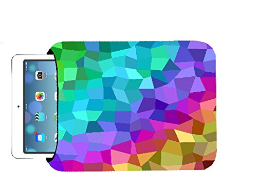 Colorful Multicolored Rainbow Polygon 10x8 inch Neoprene Tablet Sleeve Bag by Moonlight Printing for iPad, Kindle, Tab, Note, Air, Mini, Fire by Moonlight Printing