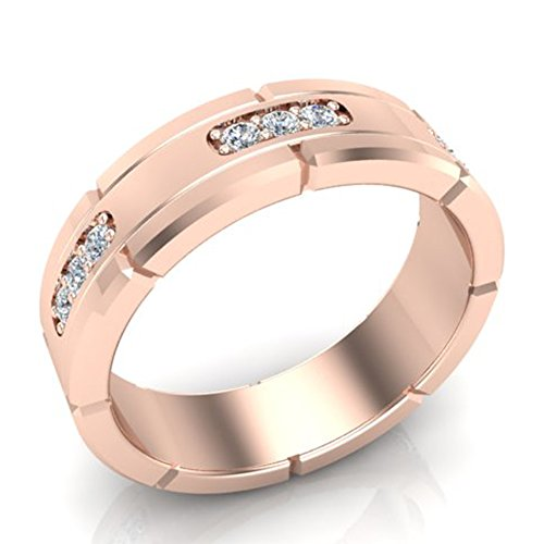 18k Gold Diamond Eternity Ring - Men's Diamond Wedding Band Semi-Eternity Wedding Ring 18K Rose Gold 0.45 ct tw (Ring Size 11)