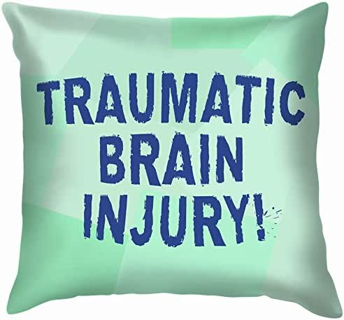 Text Sign Showing Traumatic Brain Injury Accident Cotton Linen Home Decorative Throw Pillow Case Cushion Cover for Sofa Couch 16X16 Inch