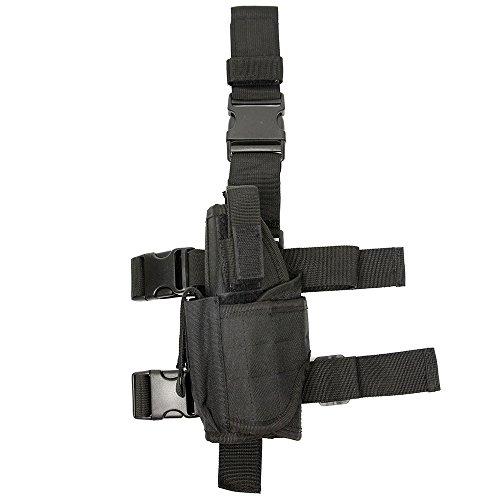 Tactical Universal Pistol Hand Gun Drop Leg Holster w/ Mag Pouch Left Handed, Black